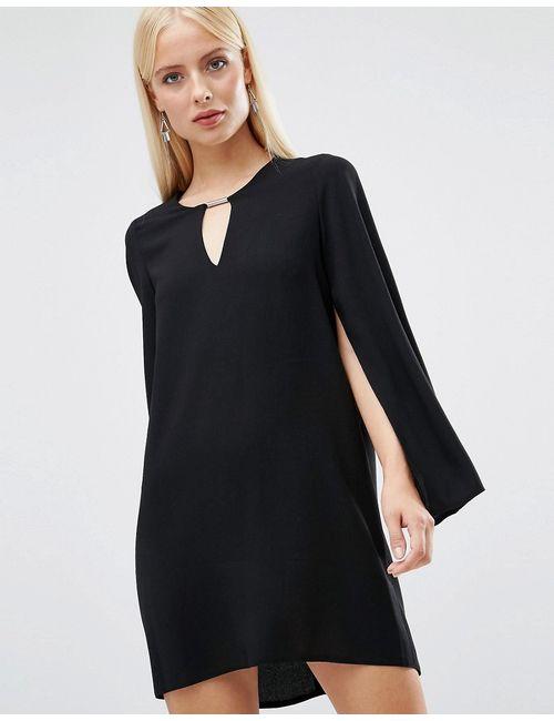 FOREVER UNIQUE | Женское Черный Цельнокройное Платье С Расклешенными Рукавами Asha