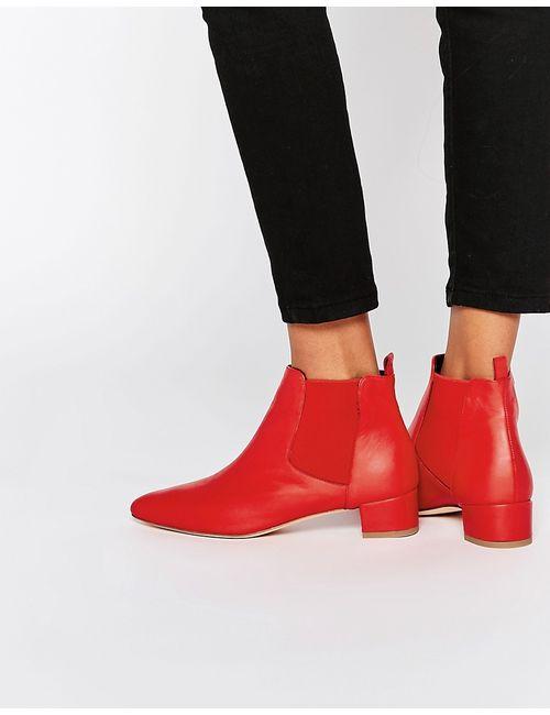 Miista | Женские Красные Кожаные Ботинки Челси Beau