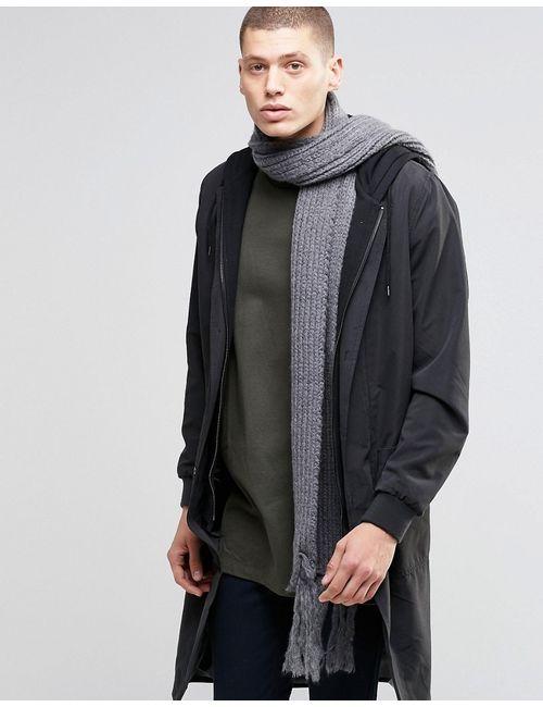 Asos | Серый Узкий Темношарф Из Оригинальной Пряжи