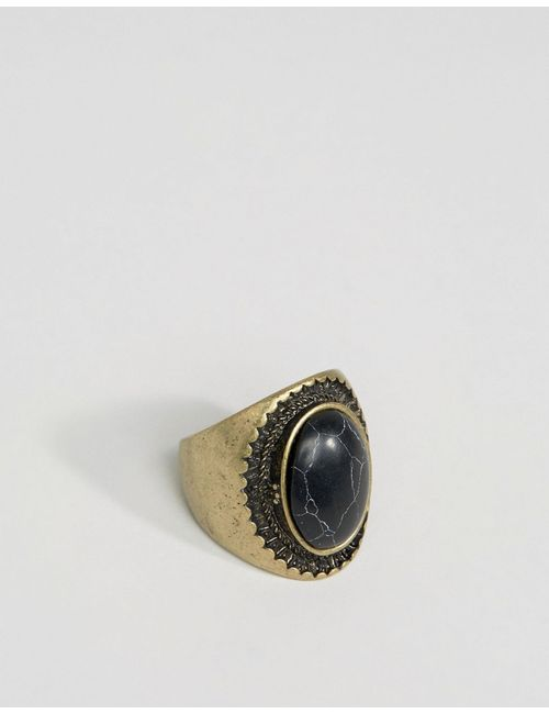 Asos | Золотой Oversized Signet With Black Stone