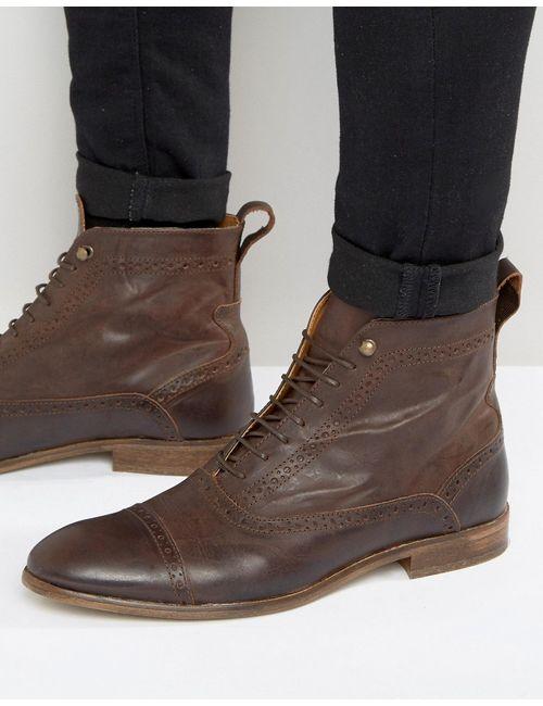 Asos | Мужские Коричневые Коричневые Кожаные Ботинки На Шнуровке