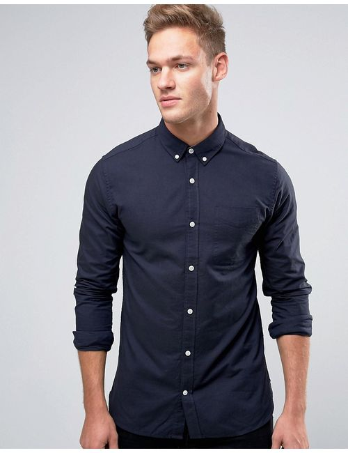 Jack & Jones | Синий Premium Long Sleeve Oxford Shirt