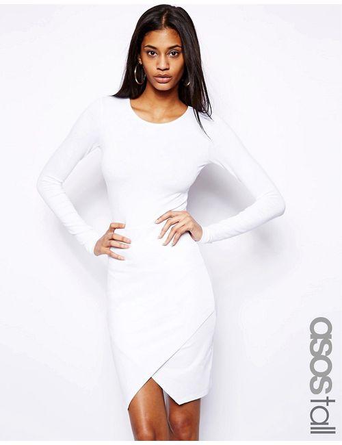 ASOS TALL | Женское Белое Облегающее Платье С Запахом