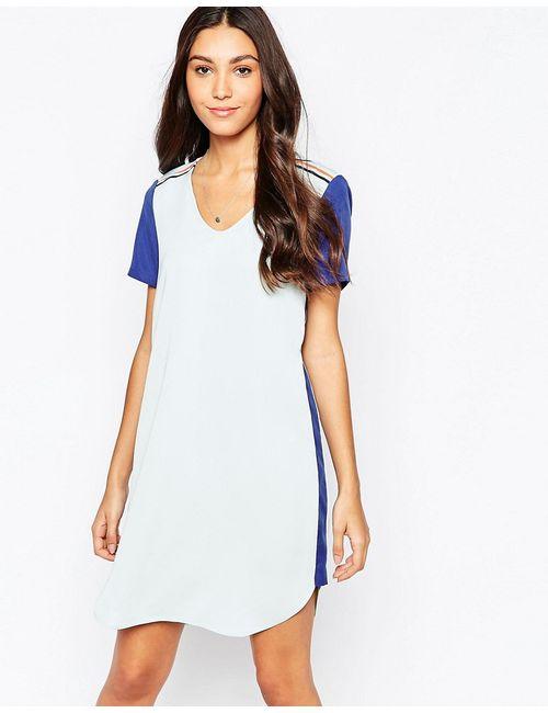 Vila | Женское Синее Цельнокройное Платье В Стиле Колор Блок
