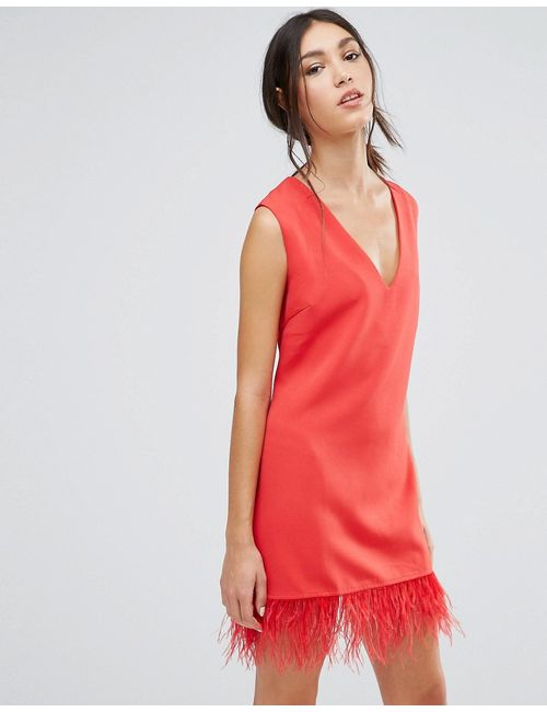 Daisy Street | Красный Shift Dress With Faux Leather Hem
