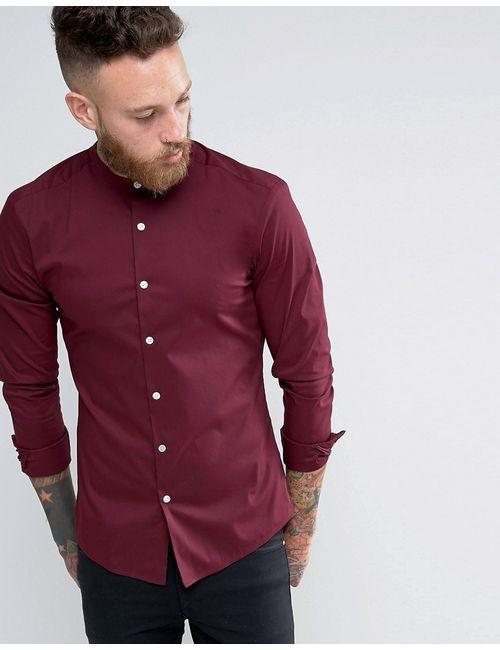 Asos | Мужская Красная Бордовая Супероблегающая Рубашка С Воротником На Пуговицах