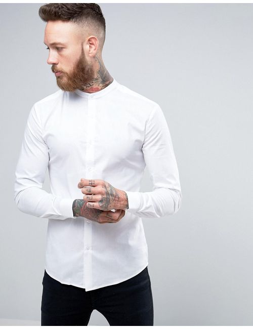 Asos | Мужская Белая Супероблегающая Рубашка С Воротником На Пуговицах