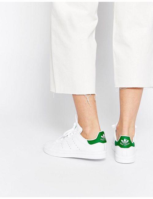 Adidas   Женские Бело-Зеленые Кроссовки Originals Stan Smith