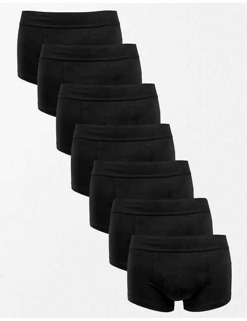 Asos | Чёрный Комплект Из 7 Трусов-Хипстеров Из Эластичного Хлопка