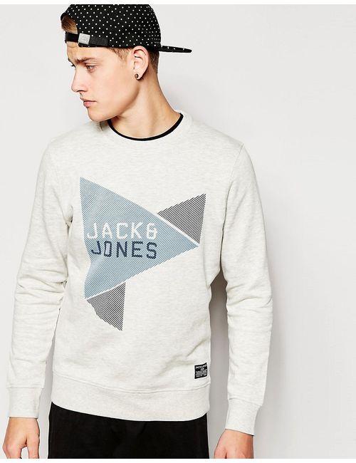 Jack & Jones | Белые Свитшот С Треугольниками И Логотипом Jack Jones
