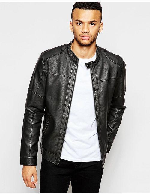 Jack & Jones | Черный Куртка Из Искусственной Кожи С Байкерским Воротником