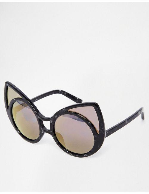 Linda Farrow | Чёрные Солнцезащитные Очки Кошачий Глаз В Фигурной Оправе