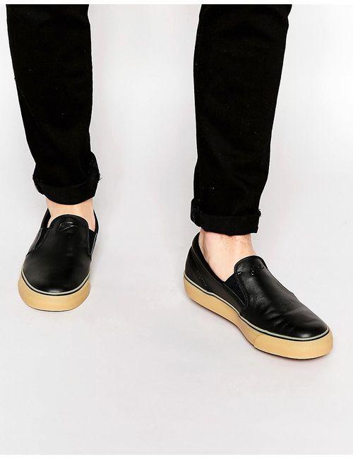 Nike | Чёрные Кожаные Кроссовки-Слипоны Toki
