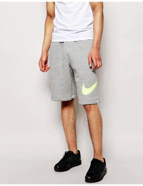 Nike | Серые Трикотажные Шорты С Логотипом-Галочкой