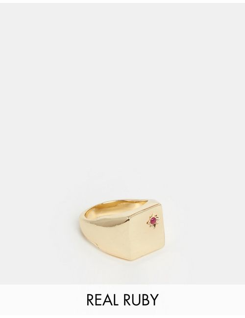 Asos | Золотое Позолоченное Кольцопечатка С Рубином