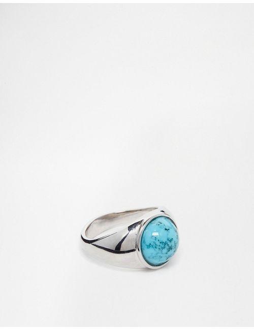 Asos | Серебряное Кольцо На Мизинец С Голубым Камнем