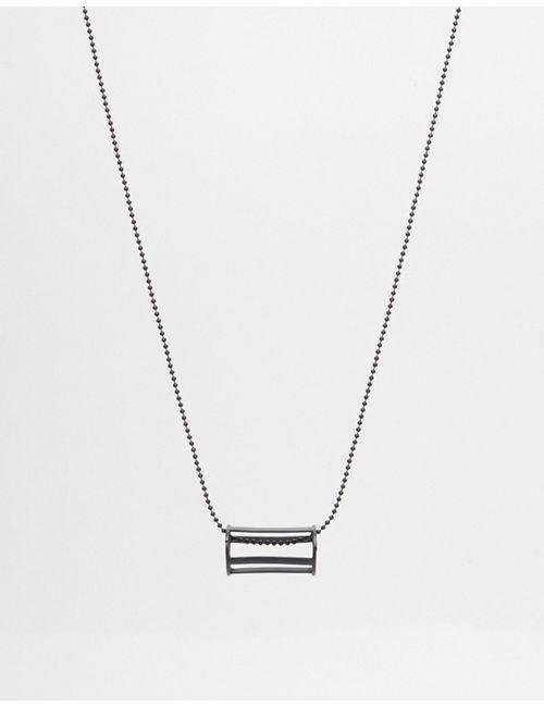 Asos | Чёрное Ожерелье С Геометрическим Дизайном И Круглой Подвеской