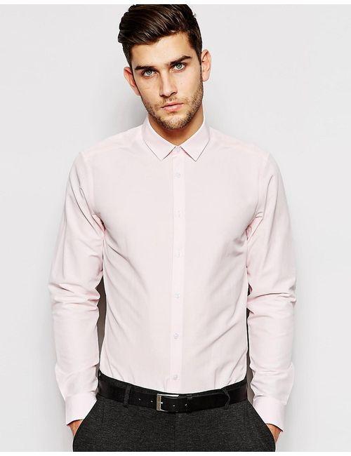 Asos   Розовая Строгая Рубашка С Длинными Рукавами