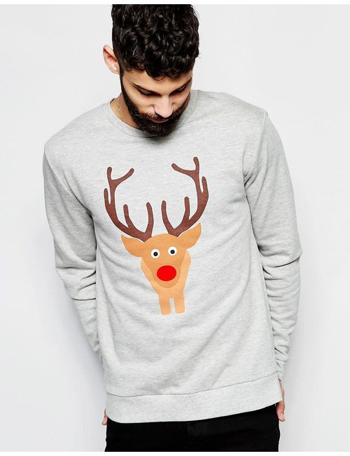Asos | Серый Christmas Sweatshirt With Reindeer And Tail Back