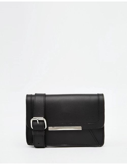 ASOS Collection | Чёрный Asos Structured Leather Bum Bag With Metal