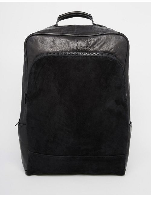 Asos | Чёрный Leather Backpack In Black With Suede Panel