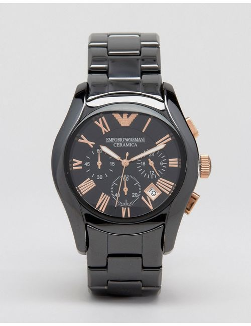 Emporio Armani | Мужские Чёрные Черные Керамические Часы С Хронографом Ar1410 Черный