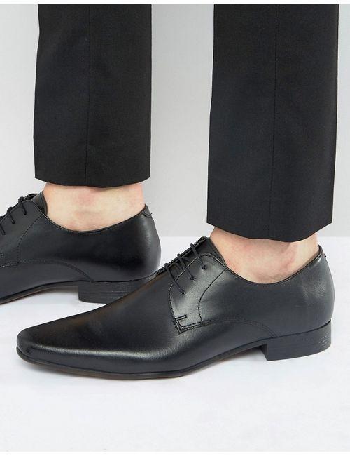 Asos | Мужские Кожаные Туфли Дерби Черная Кожа