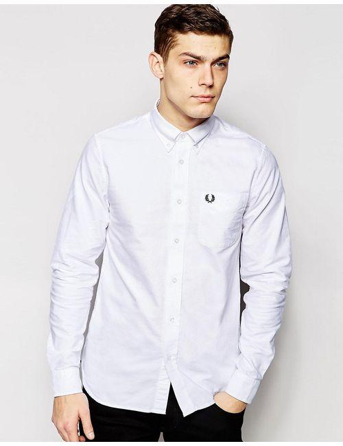 Fred Perry | Мужская Белая Белая Оксфордская Рубашка Зауженного Кроя Белый