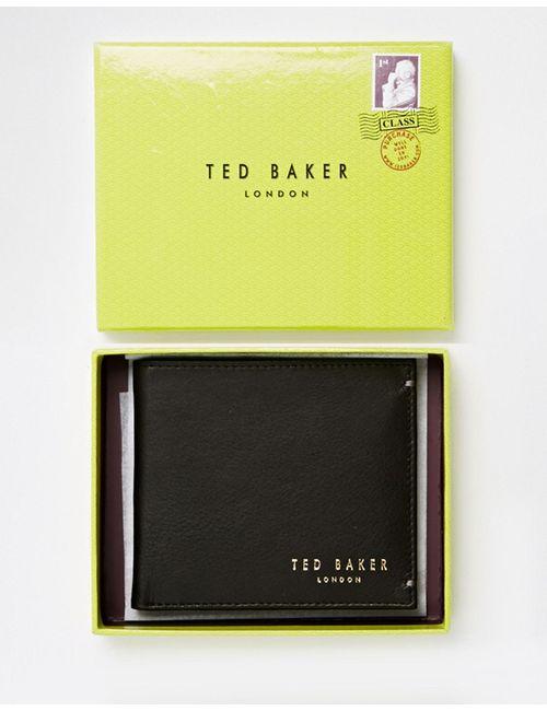 Ted Baker | Чёрный Кожаный Складной Бумажник С Отделением Для Монет