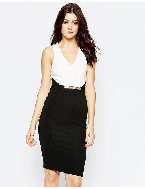 Lipsy | Женское Черный Монохромное Платье Миди 2 В 1 Черный