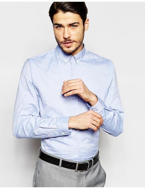 Ben Sherman | Мужская Синяя Однотонная Оксфордская Рубашка