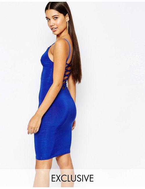 Club L | Женское Синее Облегающее Платье Мини С Решетчатой Отделкой Сзади