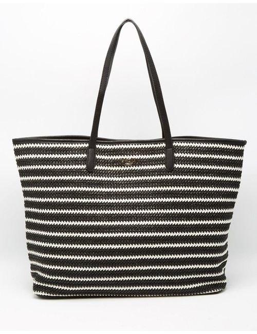 Nali | Чёрная Полосатая Плетеная Сумка Из Материала Под Рафию