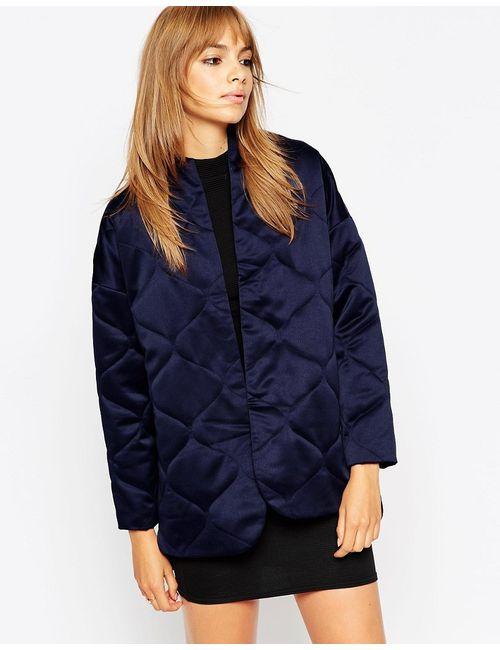 Asos | Женская Синяя Стеганая Атласная Куртка Premium Темно-Синий