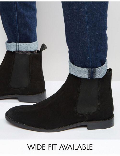 Asos   Мужские Чёрные Замшевые Ботинки Chelsea Черный