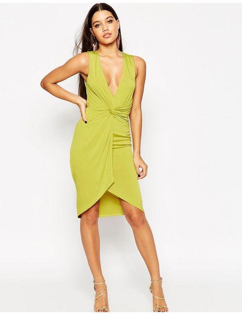 Asos | Женское Лайм Платье Миди С Глубоким Вырезом Лайм
