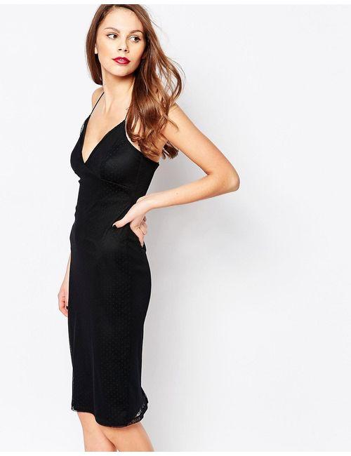 Daisy Street | Чёрное Платье-Сорочка С Сетчатым Верхним Слоем В Горошек