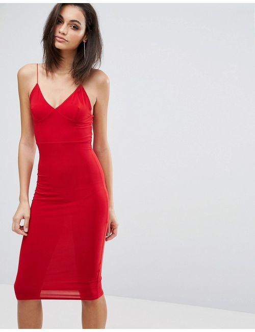 Club L | Красный Платье-Миди С Бретельками Красный