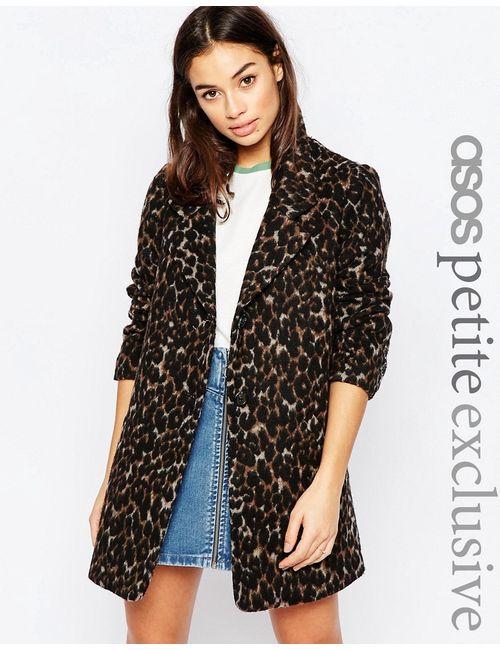ASOS PETITE | Женское Многоцветное Пальто С Леопардовым Принтом Мульти