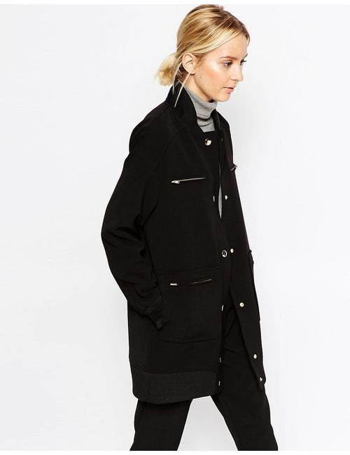 ASOS WHITE | Чёрное Пальто-Пилот Из Нетканого Крепа С Пуговицами Черный