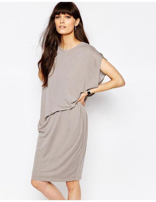 Paisie | Женское Серое Трикотажное Платье С Асимметричной Сборкой На Талии