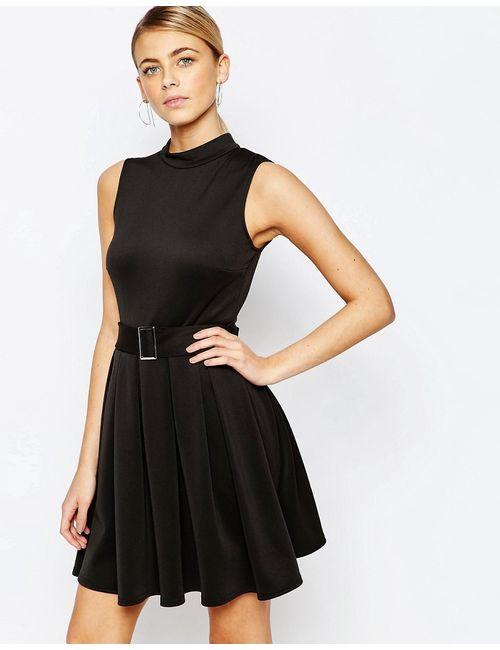 Love | Женское Чёрное Платье Мини С Поясом И Высокой Горловиной