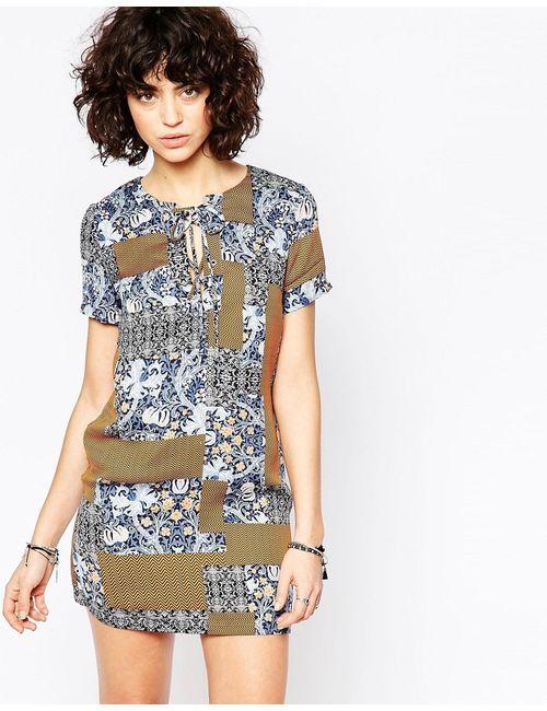 Glamorous | Женское Синее Платье В Полоску Со Шнуровкой Спереди И