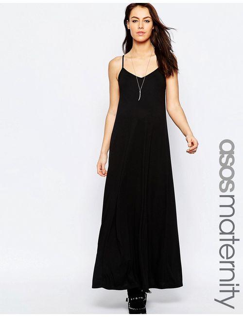 ASOS Maternity | Женское Чёрное Платье Макси Для Беременных На Бретельках