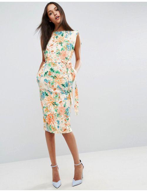 Asos | Многоцветное Платье Миди С Ремнем И Цветочным Принтом