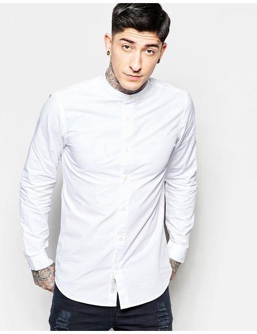 Produkt | Мужская Белая Рубашка Кроя Слим С Воротником На Пуговицах