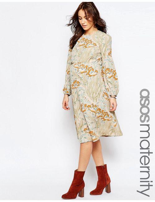 ASOS Maternity | Женское Многоцветное Платье Миди С Принтом Мульти