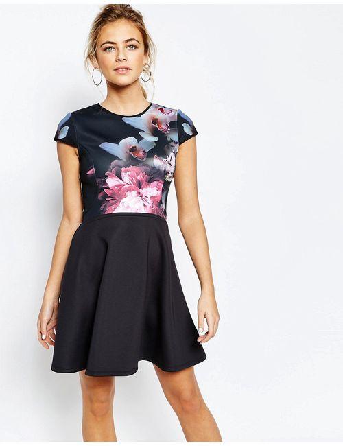 Ted Baker | Женское Многоцветное Короткое Приталенное Платье С Принтом Мульти