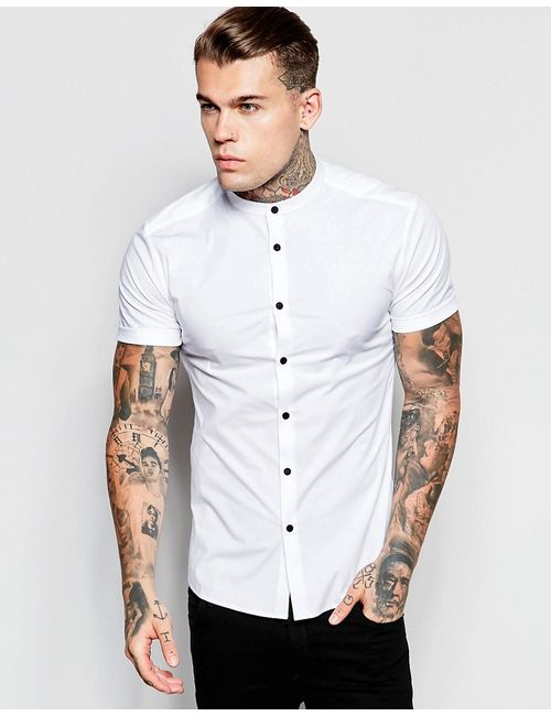 Asos | Мужская Белая Белая Рубашка Скинни С Контрастными Пуговицами И