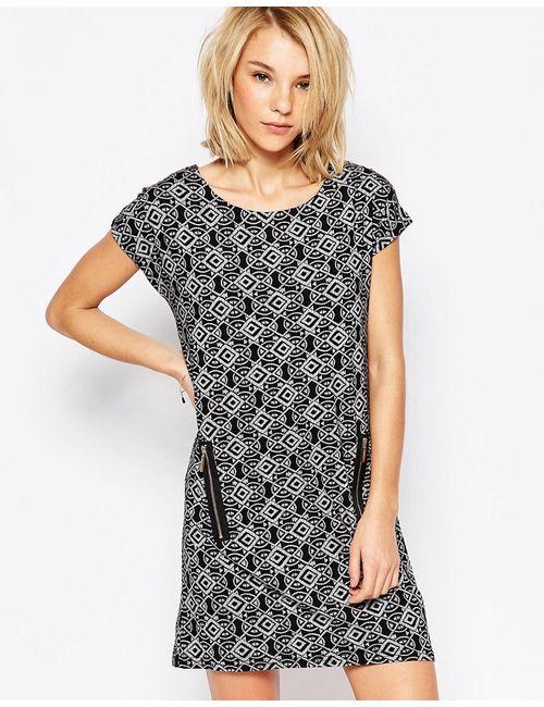 Qed London | Женское Черный Цельнокройное Платье С Карманами На Молнии И